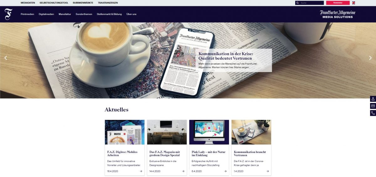 Website Relaunch der F.A.Z. Media Solutions mit portrino